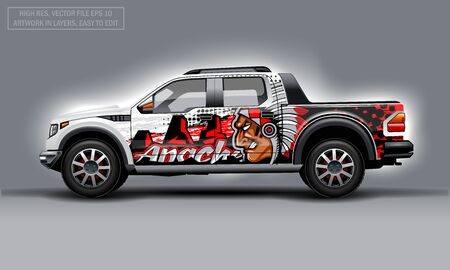 Editable template for wrap SUV with Indian profile man decal. Hi-res vector graphics