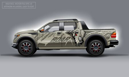 Editable template for wrap SUV with evil Boar profile decal. Hi-res vector graphics