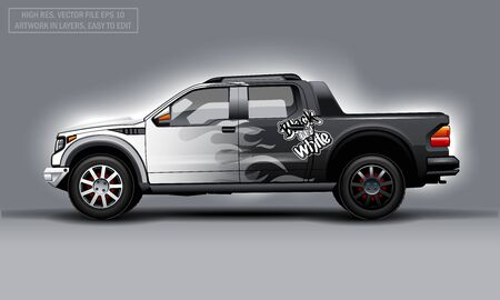 Editable template for wrap SUV with black and white flame decal. Hi-res vector graphics