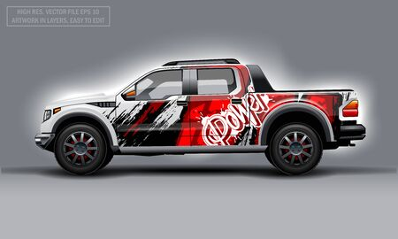 Editable template for wrap SUV with abstract power text decal. Hi-res vector graphics Illustration