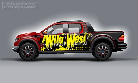 Editable template for wrap SUV with Wild west abstract text decal. Hi-res vector graphics