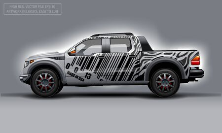 Editable template for wrap SUV with bar code lines decal. Hi-res vector graphics Illustration