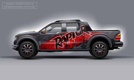 Editable template for wrap SUV with abstract Raptor text decal. Hi-res vector graphics Illustration