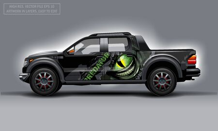 Editable template for wrap SUV with scary eye and Predator text decal. Hi-res vector graphics Illustration