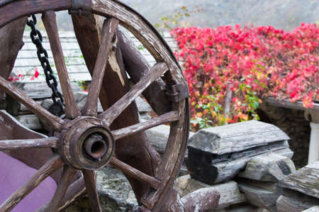 Old wheel from a cart on a background of red flowers.