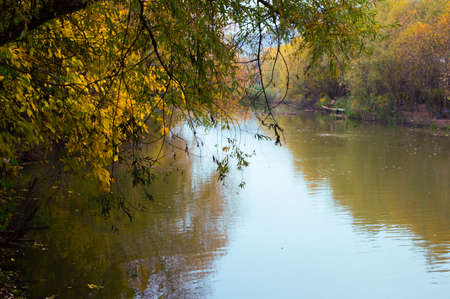 Landscape of the autumn river in the country.