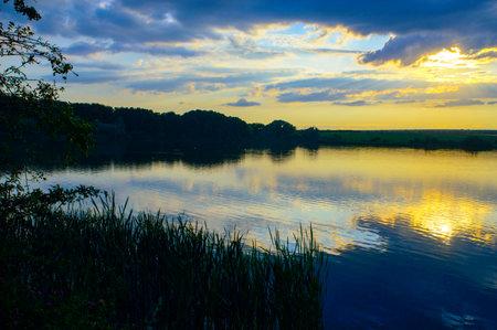 Unusually beautiful sunset on the lake.