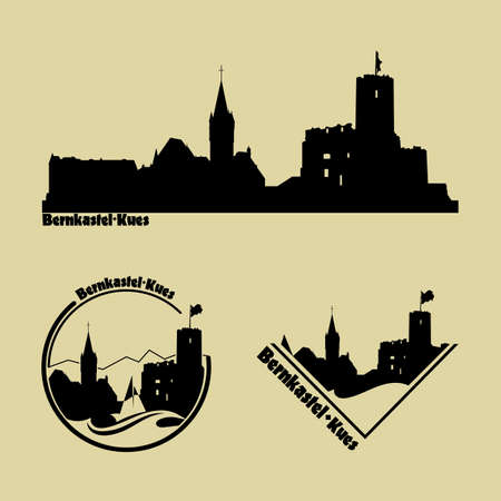 Set of silhouette of the city of Bernkastel Kues.