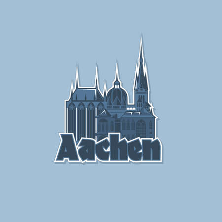 Monochrome badge, magnet of the city of Aachen.