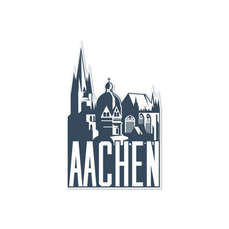 Monochrome badge, icon of Aachen city on white background. Ilustracja