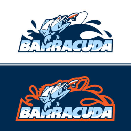 Dynamic fish logo in pursuit of bait. Ilustracja