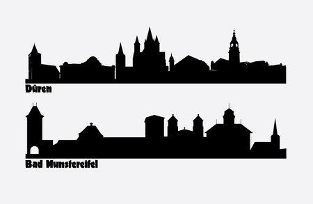 Skyline of two German cities Duren and Bad Munstereifel.