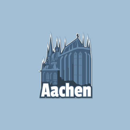 Cathedral in the city of Aachen in monochrome, maybe on a magnet.