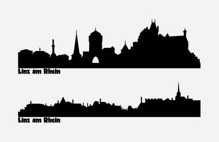 Skyline of two city views in Germany, Linz am Rhein. Ilustracja