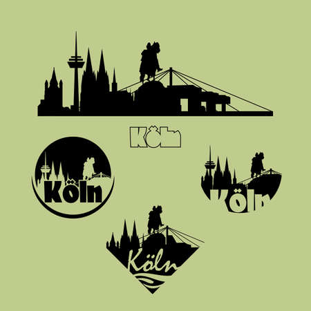 Cologne city logo icons set in silhouette.
