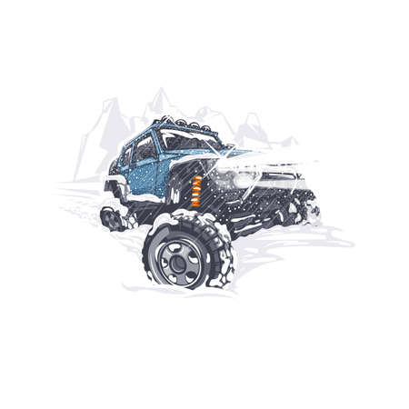 Blue off-road car overcomes the difficulties in the snowy winter Vetores