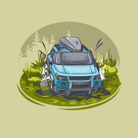 Blue SUV is stuck in a swamp and is trying to get out. Can be printed on T-shirts. Vector Illustratie