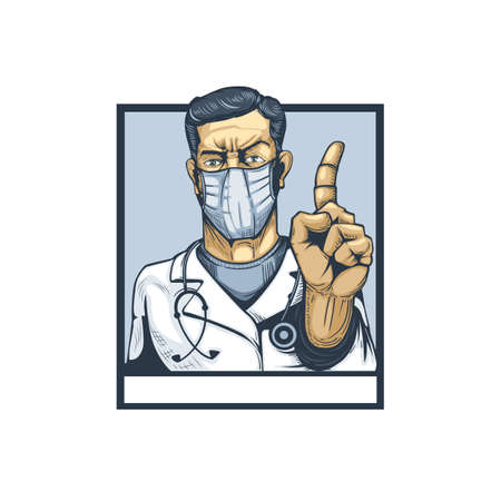 Doctor with finger gesture showing attention