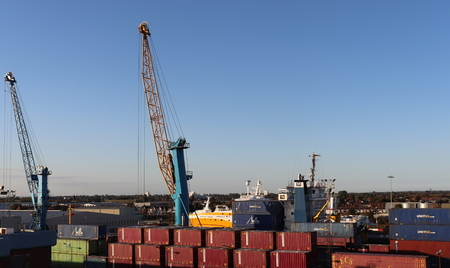 Hull, East Yorkshire, England - 09282018: activity at the Port of Hull Docks