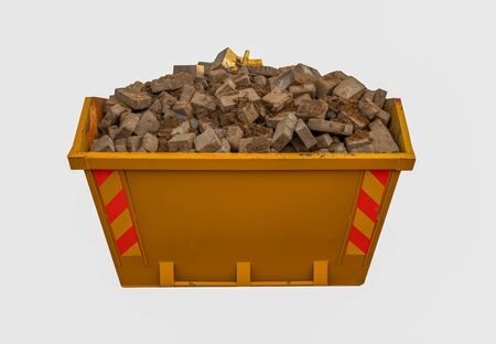 Small domestic skip full of rubbish isolated on a white