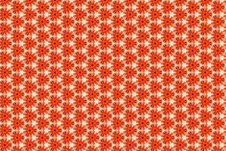 A faded orange geometric abstract background of staring cream cats 免版税图像