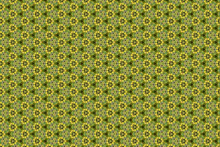 A yellow and green geometric abstract background of the flowers of Mahonia Japonica