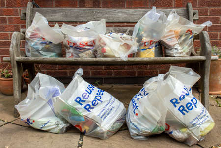 Beverley, East Yorkshire England - May, 19, 2020: Groceries delivered and left in the garden of vulnerable people self isolating in a pandemic