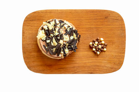 An individual sized chocolate cheese cake