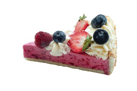 Side view of a slice of raspberry bavarois patisserie isolated on a white background