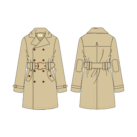 Men Trench Coat Vector Template
