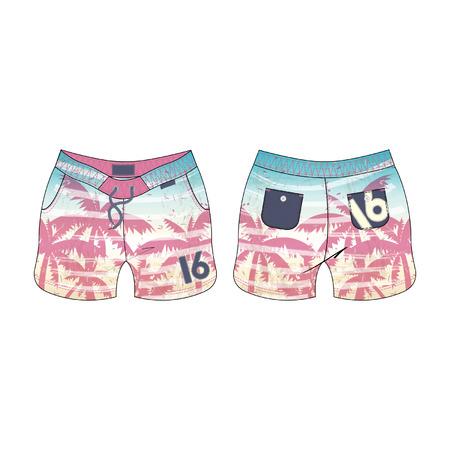 beachwear: Women Tropical Swim Shorts Illustration