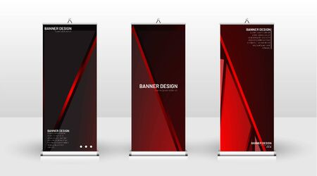 Vertical banner template design. can be used for brochures, covers, publications, etc. The concept of technology background in red