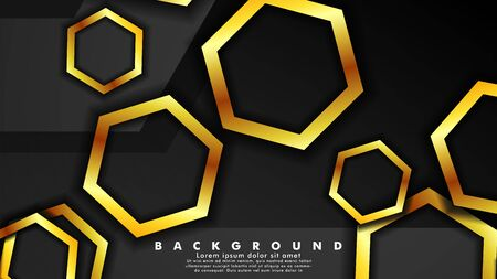 Vector background design that overlaps with hexagon gold color gradients on black space for text and background design