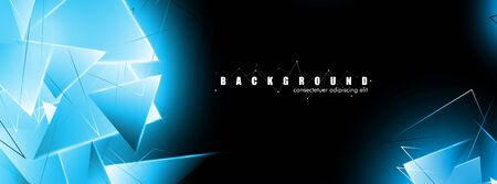 abstract background with glowing blue triangles that overlap. isolated black background. vector illustration of eps 10