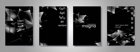 set the book cover the background of the light Triangle. Abstract composition of 3D triangles. Modern geometric black background Ilustracja