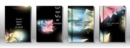 set the book cover the background of the light Triangle. Abstract composition of 3D triangles. Modern geometric backgrounds isolated black Ilustracja