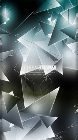Vertical triangle background. Abstract composition of 3D triangles. Modern geometric backgrounds isolated black