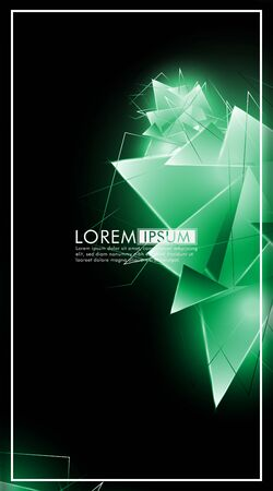 vertical triangle background. Abstract composition of 3D triangles. Modern geometric green insulated black background