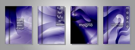 Vector collection of book cover backgrounds. illustration of eps vector design 10. purple gradient wave color Ilustracja