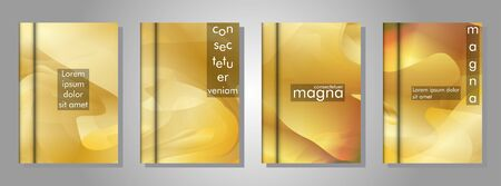 Vector collection of book cover backgrounds. Vector illustration of  design . Gold gradient wave color