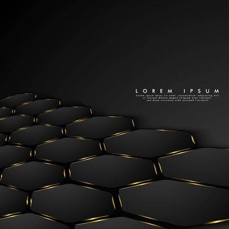Black Hexagon perspective with golden light shines. Abstract vector background. Minimal design