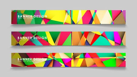 Abstract rectangular vector banners with colorful geometric gradient backgrounds