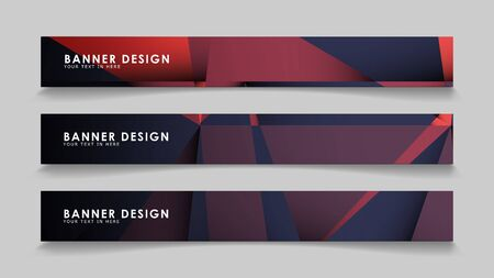 Abstract rectangle vector banners with red black geometric gradient backgrounds . design templates. future Poster template design Ilustração