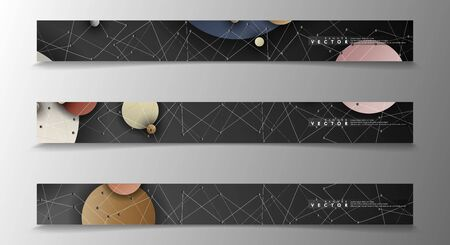 Banner collection, vector backgrounds with colorful circles. space banner vector suitable for any design
