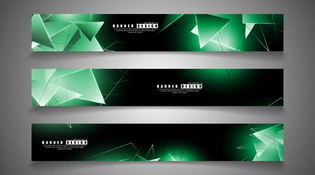 banner collection. abstract background with luminous green triangles that overlap . isolated black background.