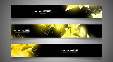 banner collection. abstract background with luminous gold triangles that overlap . isolated black background