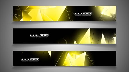 banner collection. abstract background with luminous gold triangles that overlap . isolated black background.