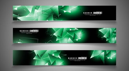 banner collection. abstract background with luminous green triangles that overlap . isolated black background. vector illustration of eps 10