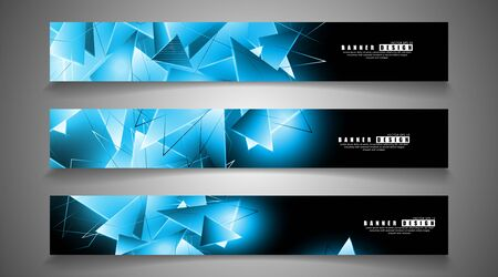 banner collection. abstract background with luminous blue triangles that overlap . Ilustração
