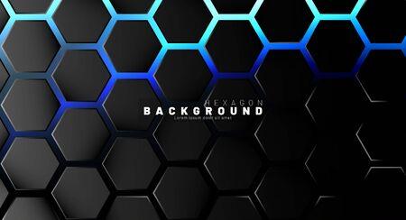 Abstract black hexagon pattern on blue neon background technology style. Honeycomb. Vector illustration Illustration
